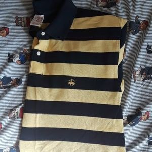 Brooks Brothers 'Navy and Yellow' Striped Polo XL